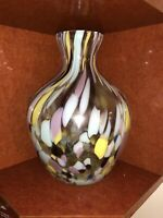 "Beautiful Vintage Murano Style Hand Blown Art Glass Vase  12"" x 9"""