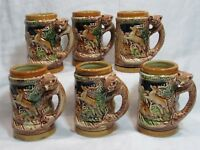 Majolica Stein Mugs Woodland Fox Figural Handle Vintage Made In Japan Set of 6!
