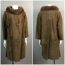 Vintage 1960s Brown Suede Fur Collar Button Up Winter Swing Coat Mod New Look M