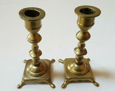 """Set of 2 Brass Candle Holders Square Footed Pedestal 6"""" Tall 7/8"""" Diam Candle"""