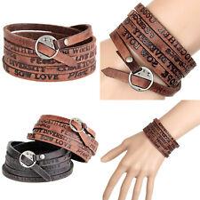 Punk Leather Wrap Cuff Bangle Bracelet Men Women Wristband Cool Jewelry USA