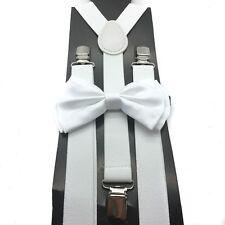 New White Unisex Bow Tie & Suspender Tuxedo Wedding Party Apparel Accessories