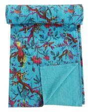 Indian Vintage Kantha Quilt Bedspreads Cotton Throw Handmade Queen Size Blanket