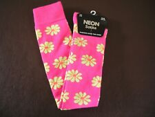 Ladies Neon knee socks,size 4-6, pink with yellow & orange flowers,synthetic mix