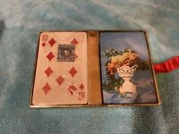 VINTAGE PLAYING CARDS DOUBLE DECK PLASTIC COATED IN BOX FRUIT