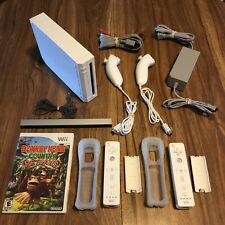 Nintendo Wii White System Console Bundle: 2 OEM Remote Controllers & Donkey Kong