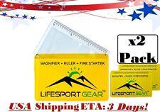 2 Pack Credit Card Fresnel Lens Reading Pocket Magnifier Ruler Emergency Fire US
