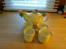 vintage Fitz & Floyd F.F Ceramic Tea Pot with Cups Yellow Underwood's Peoria Il