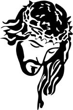 "Jesus Christ Face Symbolic Decal Sticker Car Truck Window- 6"" Tall White Color"