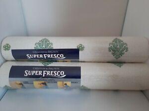 3 Rolls Graham & Brown Superfresco Floral Green Textured Vinyl Wallpaper 10516