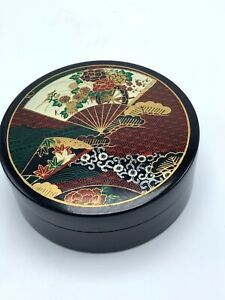 Vintage Japanese Otagiri Asian Fan and Flowers Black and Gold Trinket Box