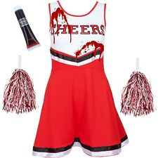ZOMBIE CHEERLEADER FANCY DRESS HALLOWEEN ADULT BLOOD VAMPIRE COSTUME + POM POMS