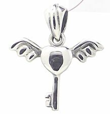 WINGED HEART and KEY PENDANT 925 Sterling SILVER 19mm Drop Angel