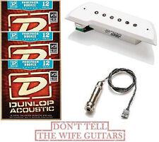 EMG ACS White Acoustic Active Soundhole Pickup System (3 Sets Of Dunlop Strings)