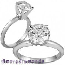 3+ ct E VS2 gia round natural diamond solitaire engagement 4 prong ring platinum