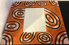 Decorative Contemporary Wall Mirror Hand Painted in Bali -  Orange, Ovals