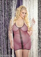 Fishnet Halter Mini Dress Chemise Black and Pink Stripes Queen Plus Size X90269