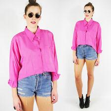 Vtg 90s Grunge Pink Studded High Low Hi Lo Oversized Shirt Blouse Crop Top S M L