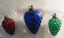 Vintage Kugel? Heavy Glass Grape Ornaments Lot Of 3