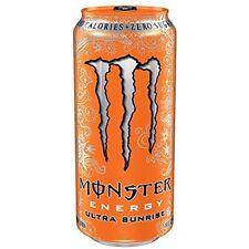 Pack Of 24 Monster Energy Drink Ultra Sunrise Sugar Free Citrus & Orange 16 Oz.