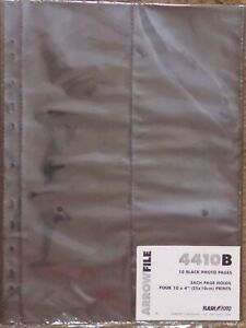 1 PACK ARROWFILE 4410B 10 PHOTO PAGES. EACH PAGE HOLD 4 10 X 4 PRINTS