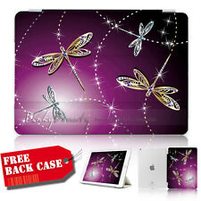 iPad 2 3 4 Generation 2 3 4 Smart Cover & Base Case A30092 Dragonfly Bling