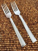 "Hampton PORTFOLIO FROSTED Satin Stainless Outline Edge 2 SALAD FORKS 6 7/8"" NEW"