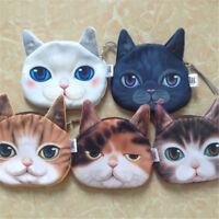 3D Cat Printing Fashion Mini Wallet Zipper Card Holder Coin Purse Small Bag Shan