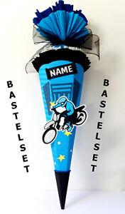 Bastelset Schultüte biker Motorrad  blau Zuckertüte