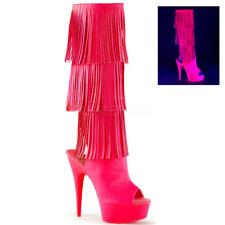 Gold Platform Tassels 1960s Gogo Dancer Disco Boots Heels Womans size 6 7 8 9 10