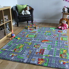 Children S Kids Rugs Town Road Map City Cars Toy Rug Play Village Mat 95 X 133cm