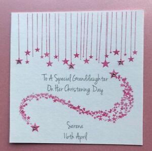 Personalised Handmade Girls Christening Card - Granddaughter Goddaughter Niece