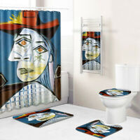 Abstract Bathroom Rug Set Shower Curtain Bath Towel Bath Mat Toilet Lid Cover