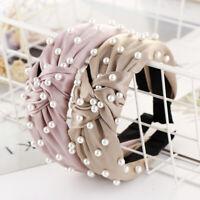 Women's Tie Headband Hairband Pearl Fabric Hair Band Hoop Accessories Head Wrap