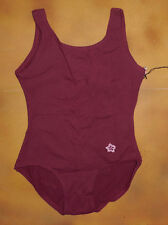 NWT Dance Bloch Burgundy Tank Leotard Embroidered Flower Small Child 6 CL4102E