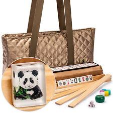 "American Mahjong Set, ""Panda"" Tiles with Tawny Brown Fabric Case"