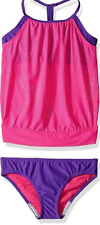Speedo Girls Mesh Blouson Tankini Two Piece, Pink, (Size 7)