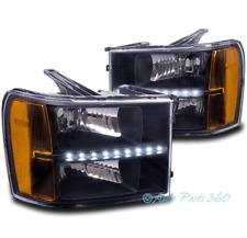 FOR 07-13 GMC SIERRA 1500 2500 3500 HD REPLACEMENT LED BAR HEADLIGHT LAMP BLACK