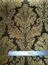 Antique Gold and Black Damask Chenille Fabric.