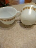 Vintage PYREX Butterfly Gold White Milk Glass Coffee Cups Set of 2