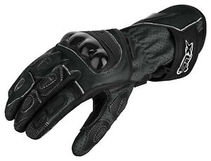 Motorradhandschuhe mit Protektoren Motorrad Lederhandschuhe Schwarz Gr. S - 3XL