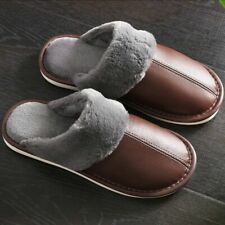 Slippers For Women Winter Leather Warm Short Plush Fur Indoor Comfy House Shoes