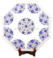 White Marble Coffee Table Top Semi Gem Real Lapis Inlay Marquetry Decorate H1694