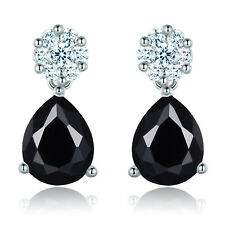 Dangle Raindrop 10*7mm Black Crystal Gemstone Silver Gold Filled Women Earrings