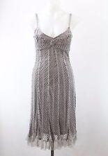Sue Wong Grey Spaghetti Strap Padded Bust A-Line Dress Size Medium