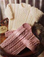 "Baby Vintage Knitting Pattern Aran Sweater & Cardigan 41-56 cms 16-22"" DK L1014"