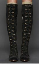 Jeffery Campbell Free People Johnny Tall Lace Up OTK Boots Charcoal Suede SZ 8