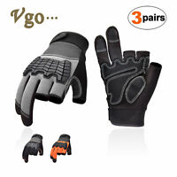 Vgo 3Pairs 3 Half-Finger Leather Work Gloves Medium Duty Mechanic Gloves(SL6085)