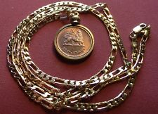 """Lion of Judah"" Haile Sellasie Coin Pendant w/24"" 18k Gold Filled 3 & 2  Chain"