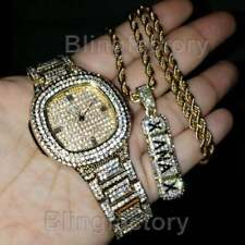LUXURY ICED GOLD PLATED LAB DIAMOND BLING WATCH & XANAX NECKLACE COMBO SET